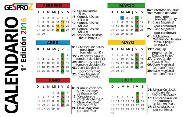 Calendario GESPROZ